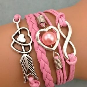 nfinity, heart leather charm  braclet